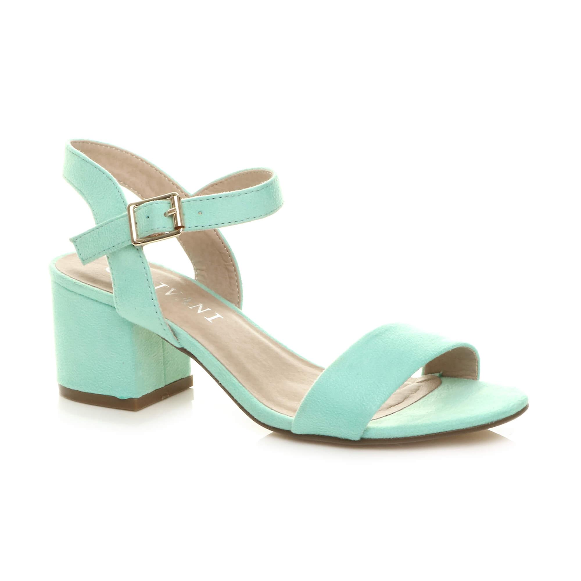 Ajvani womens mid low block heel peep toe ankle strap strappy party sandals Cyx0I