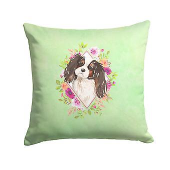 Tricolor Cavalier Spaniel Green Flowers Fabric Decorative Pillow