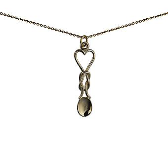 9ct Gold 11x35mm Lovespoon Pendant with a 1.1mm wide cable Chain 20 inches