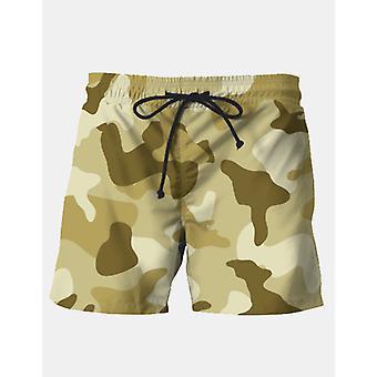 Yellow sand camouflage army pattern swim shorts