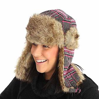 Nieuwe Mens Womens bont Plaid Check Trapper warme Winter thermische Hat A307 57cm Teal