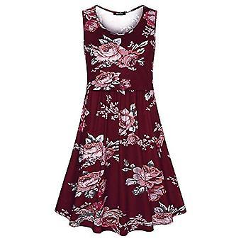 Quinee Plus Size Nursing Dress, Women Summer Sleeveless Scoop, Red, Size Medium