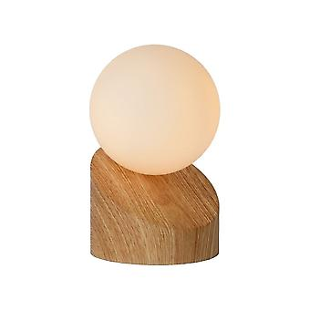 Lucide Len Modern Round Metal Light Wood & Opal Table Lamp