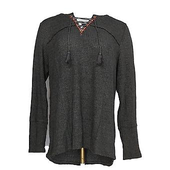 Style et Cie. Femmes plus Top Lace Up Long Sleeve Thrml Gray