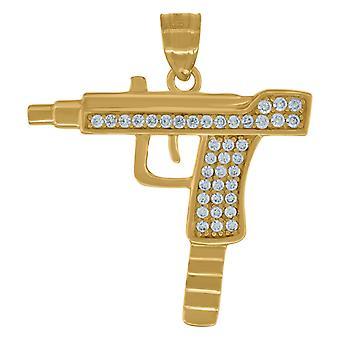 10k Giallo Oro Uomo Cubica irconia Macchina MitragliaTiNo Cotondo BracciaLe Misura 29.1x26.10mm Di trasporto di gioielli per M