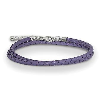 925 Sterling Silber Reflexionen lila Leder mit 2in Ext Halsband Wrap Armband Schmuck Geschenke für Frauen