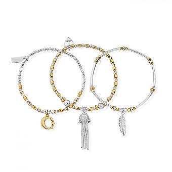 ChloBo Gold & Silber inneren Geist Stapel von 3 Armbändern