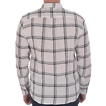 Wrangler Mens Verificado Algodão Manga Comprida Botão baixo camisa top - Branco/Preto