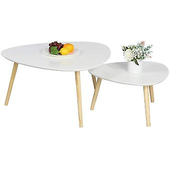 Set of 2 Triangle Nesting Tables Coffee Tables End/Side Tables Modern Occasional Table for Office, Kitchen