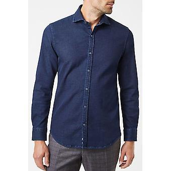 Curved-cut denim shirt