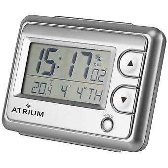ATRIUM Alarm Clock Digital Quartz Radio Alarm Clock A720-19 Light indoor temperature silver