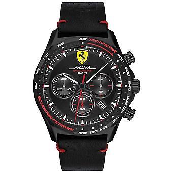 Scuderia Ferrari | Män's Pilota Evo | Svart läderrem | Svart urtavla 0830712 Klocka