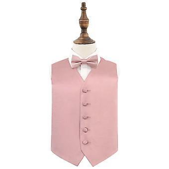 Zakurzona różowa gładka satynowa kamizelka ślubna & Zestaw muszek dla chłopców
