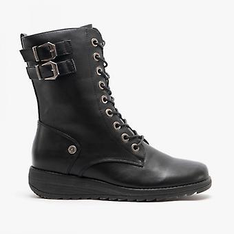 Cipriata Nadia Ladies Inside Zip Lace Up Mid Calf Boots Black
