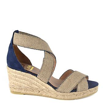 Kanna Laura Blue And Beige Espadrille Wedge Sandal