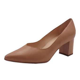 Peter Kaiser Naja Trendy Block Heel Pointed Toe Court Shoes In Biscotti River