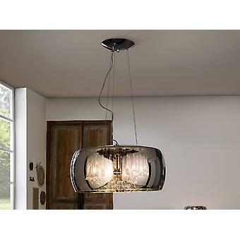 Schuller Argos - Pendant lamp made of metal, chrome finish. Shimmered glass shade. Crystal drops inside, Murano style. DIMMABLE. Remote control included. - 508111D