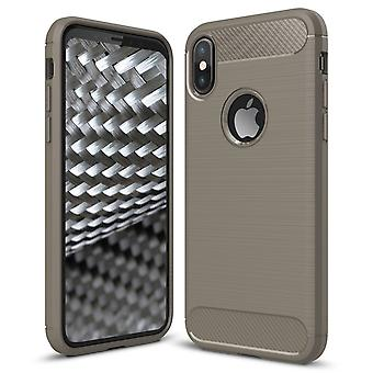 Shell para Apple iPhone X Funda Protección TPU Armadura Fibra de Carbono Gris