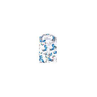 Jenson Samuel White & Blue Floral Collarless Regular Fit Shirt