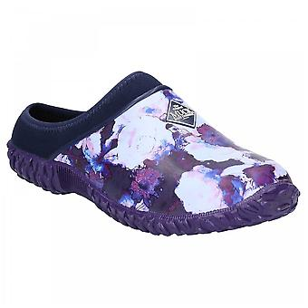 Muck Boots Ladies Rhs Muckster Ii Navy Blue Floral Print Slip On Clogs