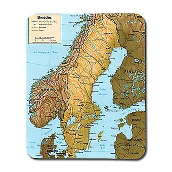 Physical Map Of Sweden Mouse Pad