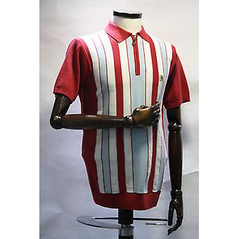 Colt Red, White & Blue Striped Knitted Polo Shirt