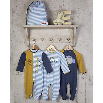 The Essential One 3 Pack Cheeky Monkey Sleepsuits