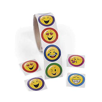 Roll of 100 Emoji Face Stickers for Kids