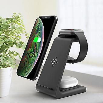 Bonola 3 in 1 Charging Station for Apple iPhone / iWatch / AirPods - Charging Dock 18W Wireless Pad Black