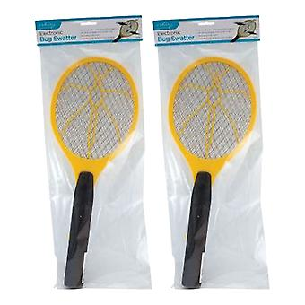 2 x Electronic Bug Swatter Flies Mosquito Wasps Flying Bug Killer Pest Insect Removal