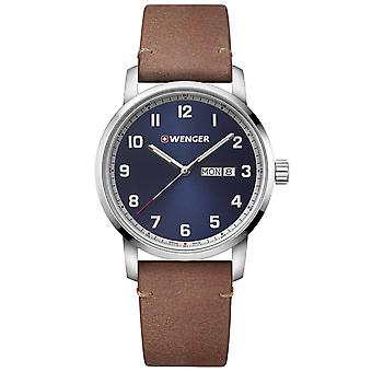 Wenger Attitude Heritage Quartz Blue Dial Brown Leather Strap Men's Watch 01.1541.114 RRP £149