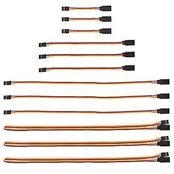 12 Peças extensão jr extensão servo cabo 3 pino 26awg cabo masculino para fêmea futaba jr para aeronave de controle remoto 3 peças x cm 7, 15, 30, 60
