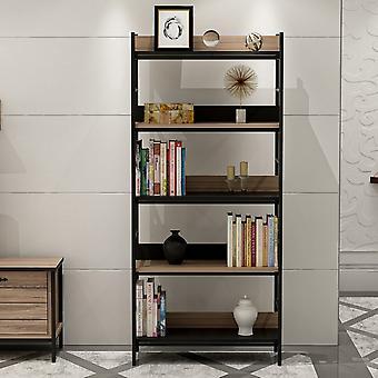 Nelly Librería Color Nogal, Blanco en Chip Melaminic, Metal, L72xP33xA160 cm