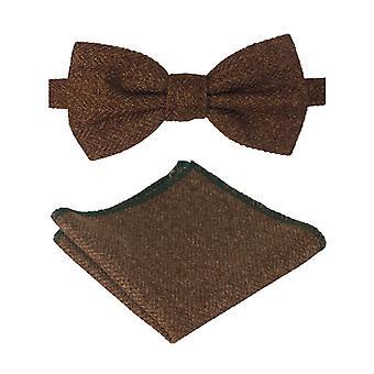 Uomini & Boys Herringbone Tweed Bow Tie and Pocket Square in Cinnamon Brown