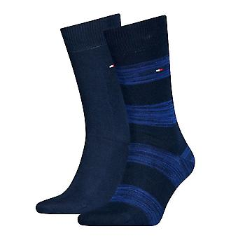 Tommy Hilfiger 2 Pack Rugby Striped Socks - Navy/Blue