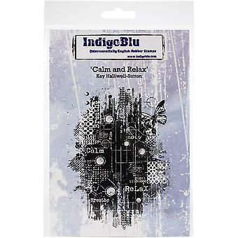 """IndigoBlu Cling Mounted Stamp 5""""X4""""-Calm & Relax"""