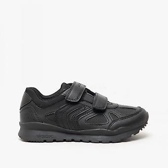 GEOX بافل B الأولاد اللمس ربط أحذية المدرسة الأسود