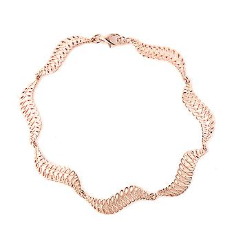 Wave Bracelet for Women Rose Gold Plated Sterling Silver Size 8""