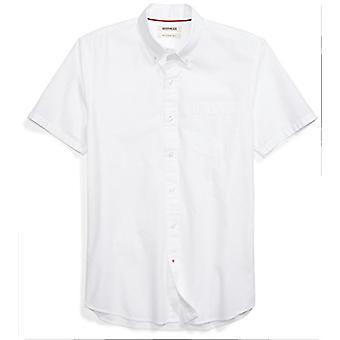 Goodthreads Men's Slim-Fit Short-Sleeve Solid Poplin Shirt, White, X-Large