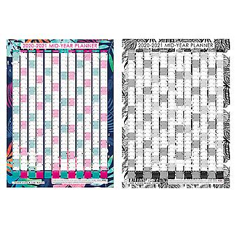 20-21 Tropical Design Academic Mid-Year Planner Large A1 Wall Chart Bright/Monochrome