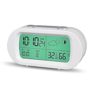 Loskii hc-102 digitale tijd thermometer datum weerbeeld snooze mode wekker met lcd-scherm
