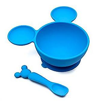 Bowl and Spoon Feeding Set - Mickey Mouse - Blue New FF-DMK