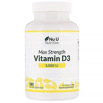 Nu U Nutrition, Max Strength Vitamin D3, 3,000 IU, 180 Softgel Capsules