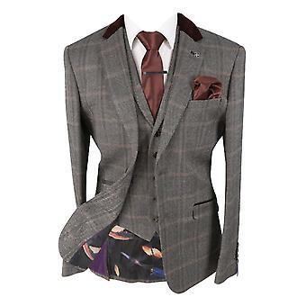Men's Connall Brown Slim Fit Tweed Check Retro Suit