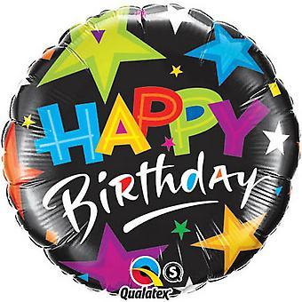 Qualatex 18 Inch Round Brilliant Stars Happy Birthday Foil Balloon