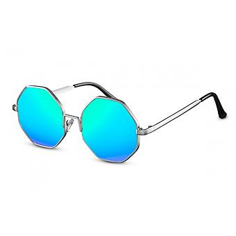 نظارات شمسية Unisex جولة Cat.3 الفضة / الأزرق (CWI1528)