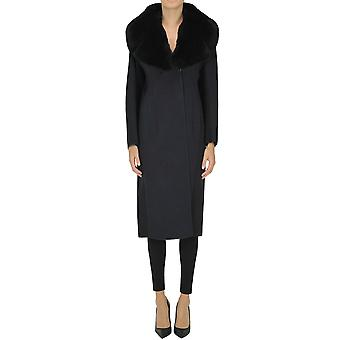 Salvatore Ferragamo Ezgl044075 Kvinnor's Blå Ull Coat