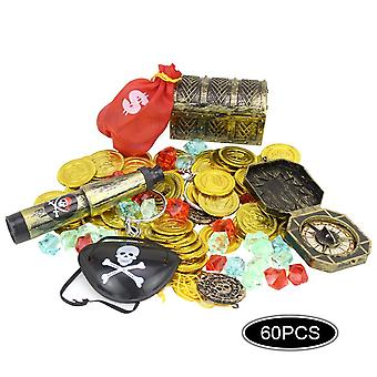 "60pcs Pirates  Set Pirate Cover Gold Coins Pirate -treasure Box Kid""s Party"