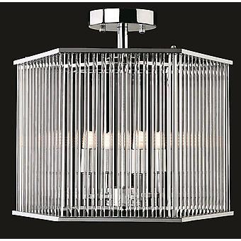 4 Lys Semi Flush - Sekskant Chrome, Klare glasstænger, G9