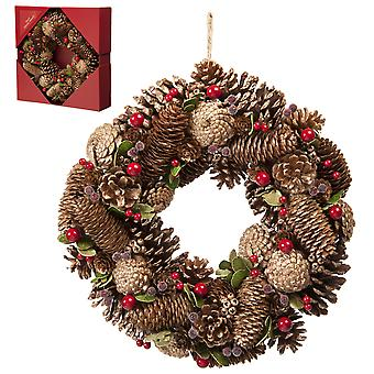36cm Gold Pinecone Wreath in a box Christmas Home Decoration